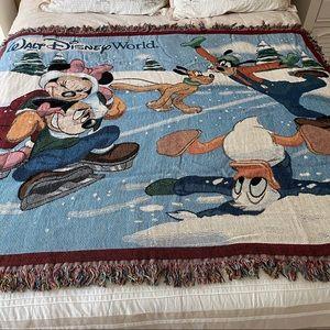 Disney Mickey Woven Tapestry Throw Winter Scene NE
